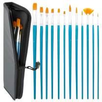 US Art Supply Halloween Face Paint 12-Piece Long Handle Premium Nylon Hair Brush Set with Carry Case