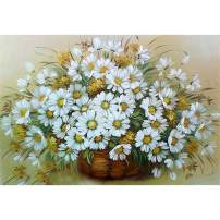 Diamond Painting Kits for Adults Kids, 5D DIY White Daisies Diamond Art Accessories with Round Full Drill for Home Wall Decor - 15.7×11.8Inches