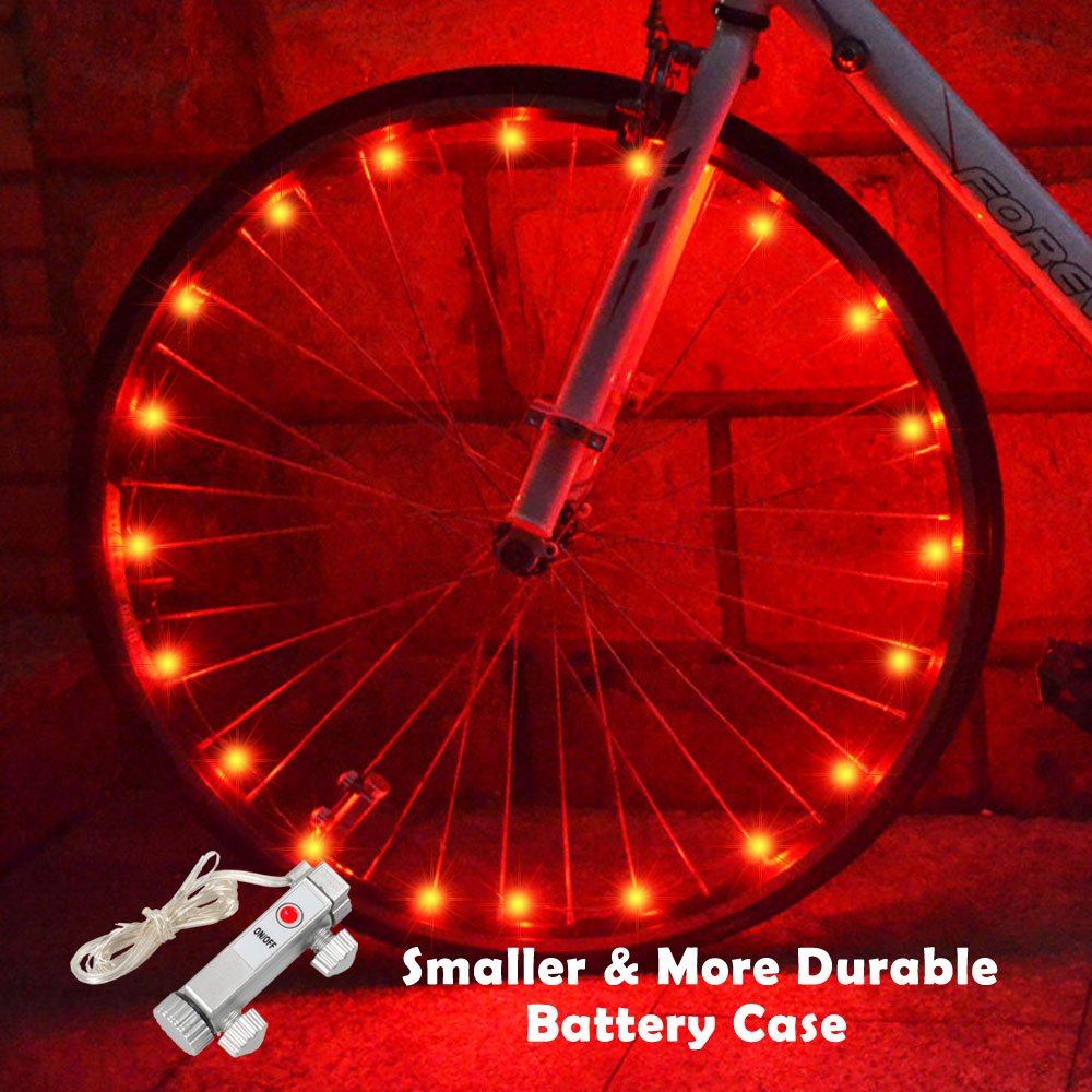 WAYNEWON LED Wheel Lights, Waterproof Bicycle Lights with Smaller Battery Case and Battery Included Birthday Gifts for Kids and Adults [1 Pack for 1 Tire]