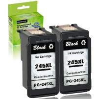 GREENCYCLE High Yield Ink Cartridge Replacement Remanufactured PG-245XL PG-245 245XL 245 XL (2 Black) for PIXMA MG2520 PIXMA MG2920 Printer - Shows Accurate Ink Level