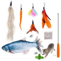 7pcs Cat Fishing Pole Feather Toy Set - Retractable Cat Teaser Wand with 5 Cat Feather Toys for Indoor Cats, Electric Flopping Fish Cat Toy with Catnip Funny Interactive Cat Toys, Gift for Pets