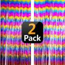 Sparkly Rainbow Gradient Tinsel Foil Fringe Curtain Party Backdrop Decorations for Birthday Graduation Wedding Engagement Bridal Baby Shower Bachelorette Celebration, Photo Booth Props - 2 Packs