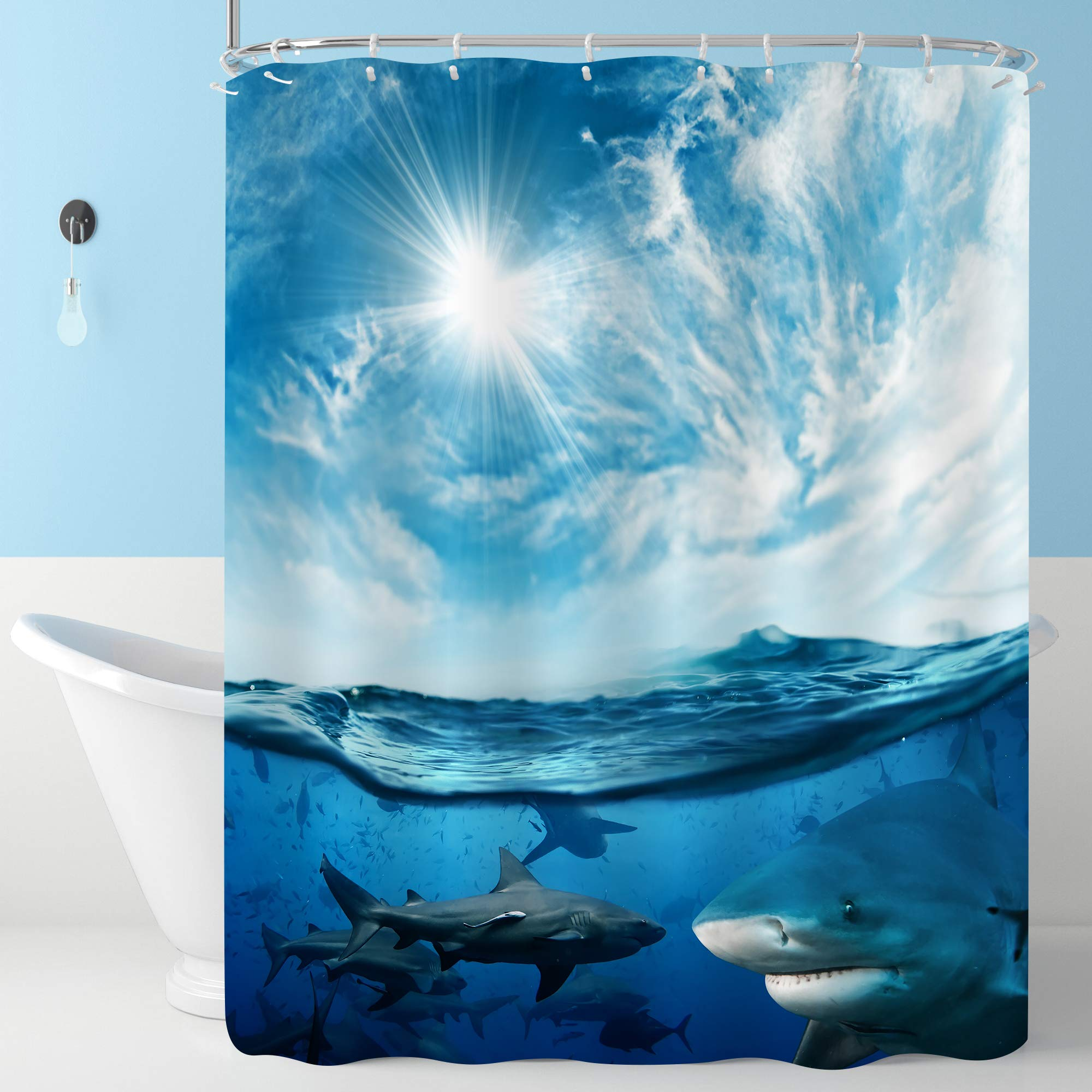 MitoVilla Beautiful Cloudy Seascape Shower Curtain with Sunlight and a Lot of Dangerous Sharks Underwater, Novelty Summer Ocean Theme Home Decorations, Water Resistant Cloth, 72 W x 72 L inches, Blue