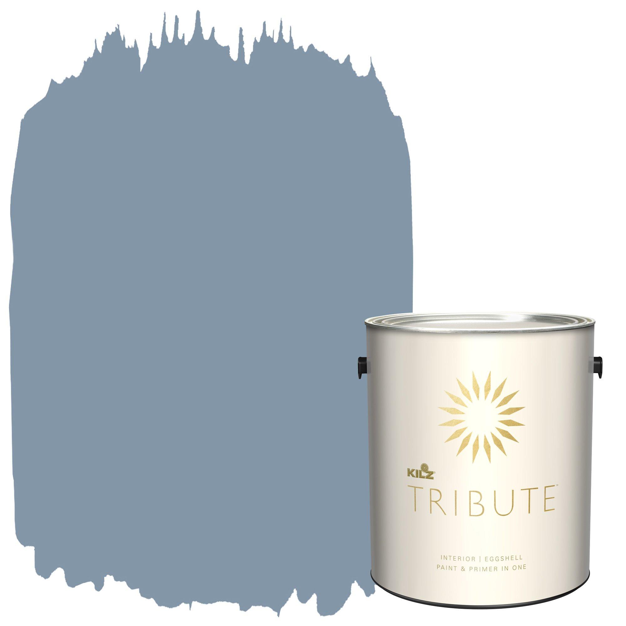 KILZ TRIBUTE Interior Eggshell Paint and Primer in One, 1 Gallon, Vintage Indigo (TB-48)