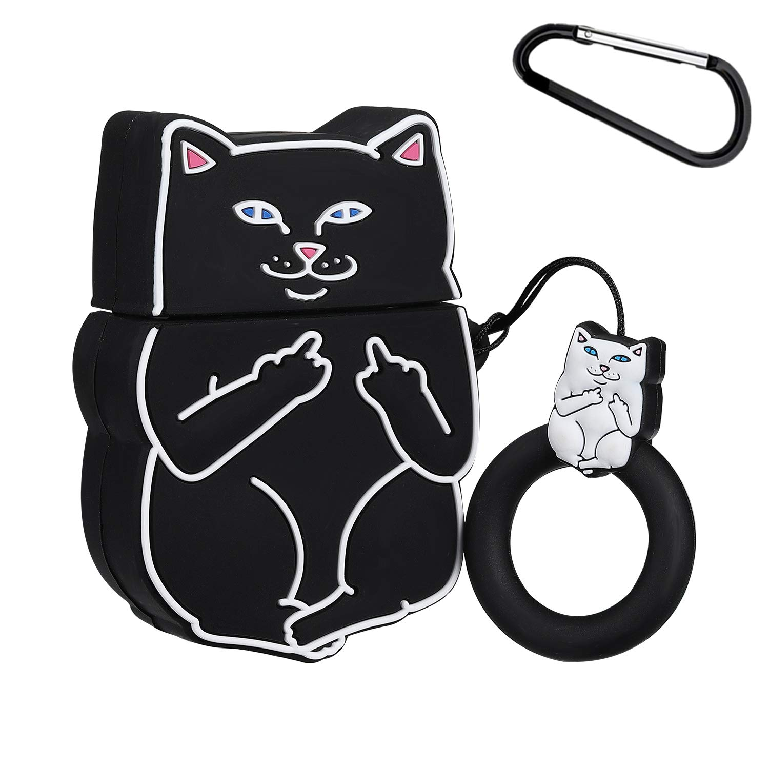 Gift-Hero Compatible with Airpods 1&2 Soft Silicone Cute Case,Cartoon 3D Fun Animal Funny Cool Kawaii Designer Kits Character Skin Fashion Cover for Girls Boys Kids Teens Air pods(Black Finger cat)