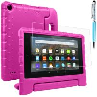 Tablet All-New Fine 7 2015 Case with Screen Protector & Stylus, AFUNTA Convertible Handle EVA Protective Case, PET Plastic Cover & Touch Pen Compatible 7 inch Tablet (5th Generation 2015 Release)-Rose