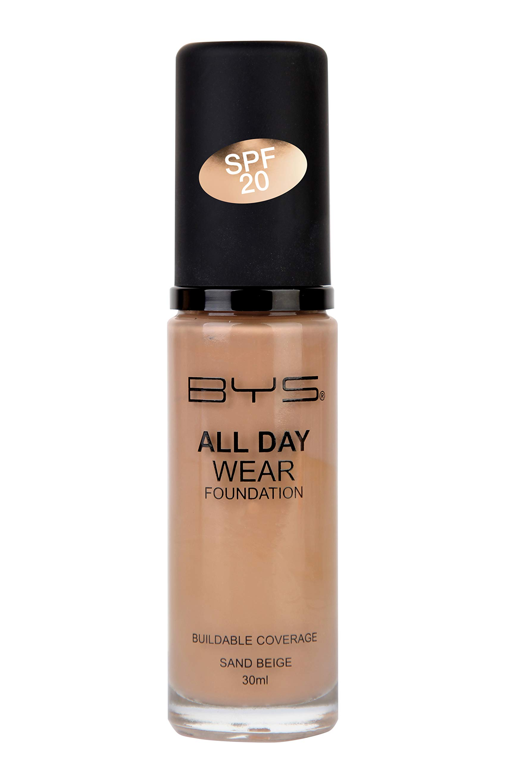 BYS All Day Wear Liquid Foundation Sand Beige - flawless base lasts all day no cake or flake buildable coverage Argan Oil antioxidant Vitamin E Peptides Vitamin C Hyaluronic Acid