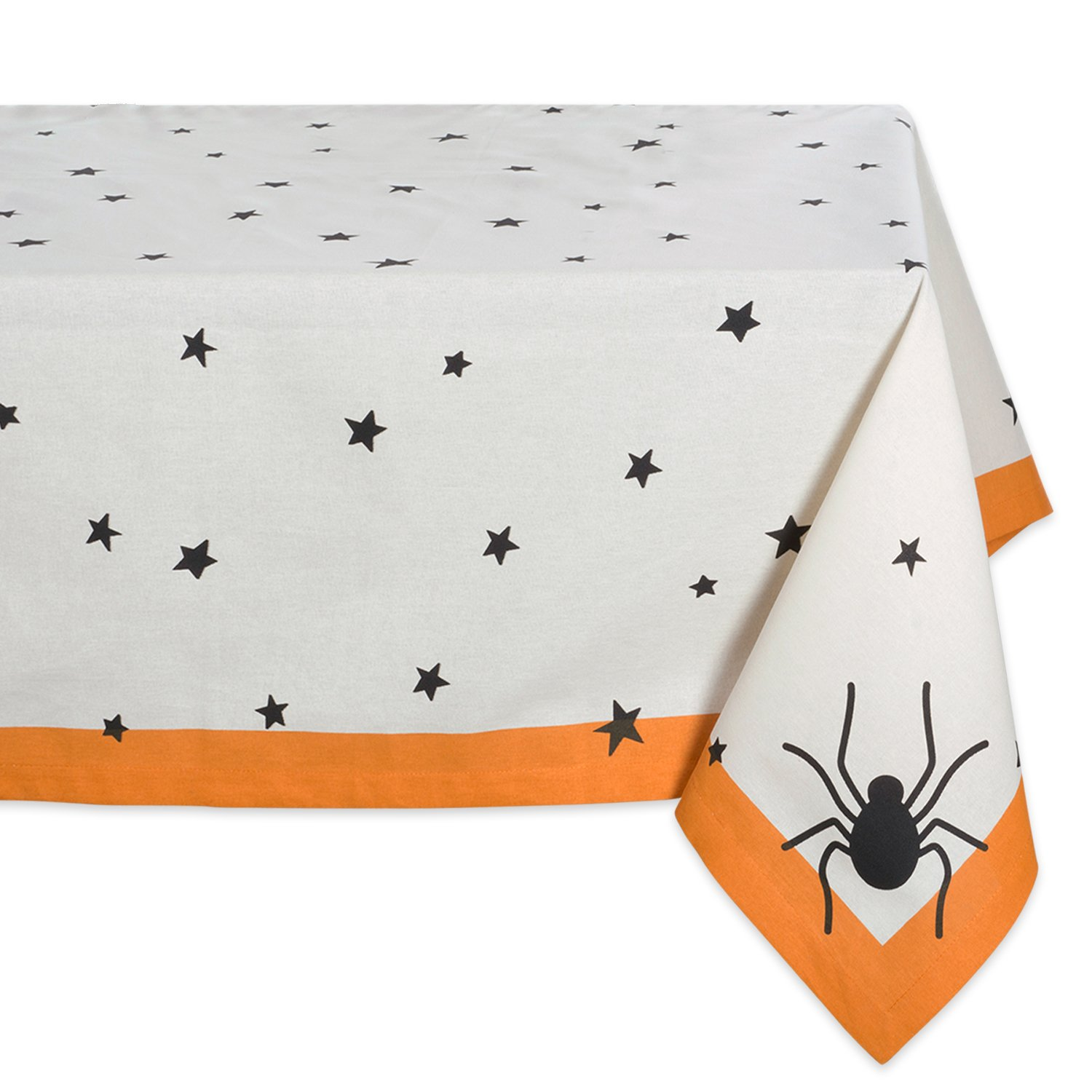 """DII 60x84"""" Rectangular Cotton Tablecloth, Black Stars - Perfect for Halloween, Dinner Parties and Scary Movie Nights"""
