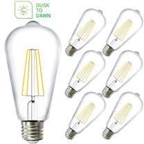 Sunco Lighting 6 Pack ST64 LED Bulb, Dusk-to-Dawn, 7W=60W, 5000K Daylight, Vintage Edison Filament Bulb, 800 LM, E26 Base, Outdoor Decorative String Light - UL, Energy Star