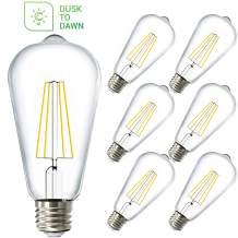 Sunco Lighting 6 Pack ST64 LED Bulb, Dusk-to-Dawn, 7W=60W, 2700K Soft White, Vintage Edison Filament Bulb, 800 LM, E26 Base, Outdoor Decorative String Light - UL, Energy Star