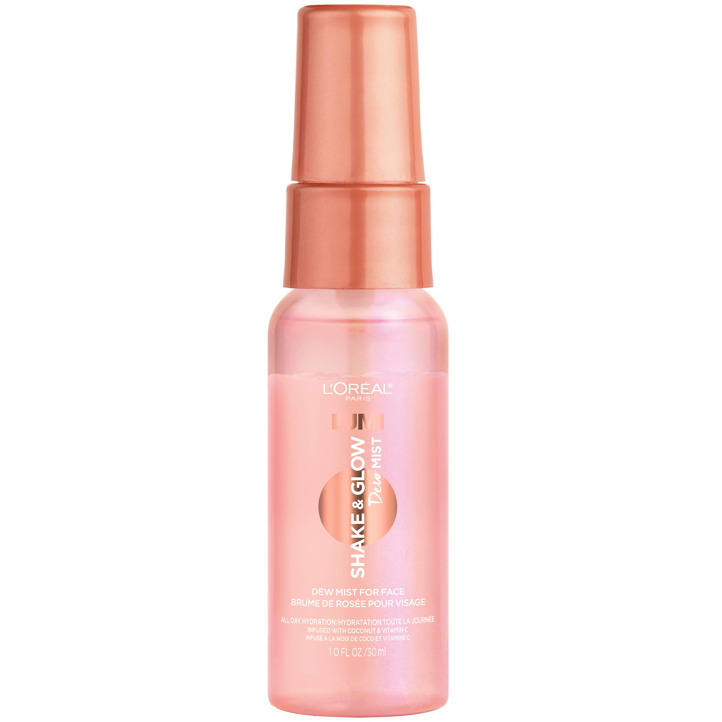 L'Oreal Paris Makeup LUMI Shake & Glow Dew Mist, Hydrating and Soothing Face Mist, Prep & Set Makeup, Energizes Skin with a Healthy Boost of Hydration, Natural Finish, 1 fl. oz.