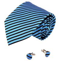 Y&G Men's Fashion Various of Colors Stripes Necktie Fabric Gift Mens Silk Tie Cufflinks 2PT with Presents Box