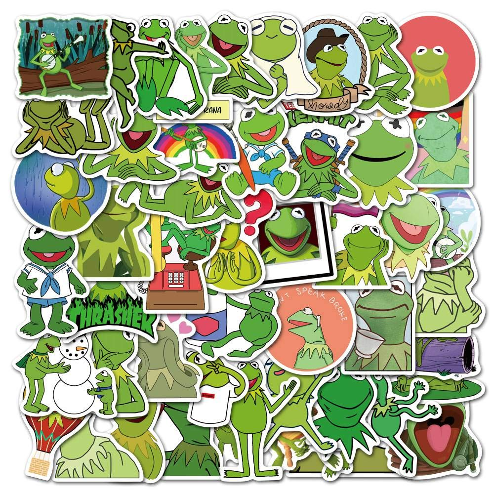 50 PCS Kermit Frog Laptop Stickers for Decor, Waterproof Vinyl Frog Decals for Kids and Teens, Cute Frog Stickers Cartoon Frog Stickers for Water Bottles, Computer, Luggage, Guitar, Hydro Flask
