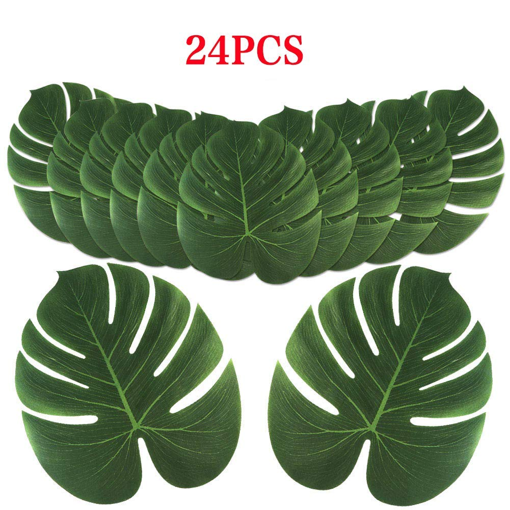 Aytai 24Pack Large Artificial Tropical Palm Leaves for Hawaiian Luau Party Decoration, DIY Palm Leaf Place Mat Table Runner Wedding Table Decorations Jungle Party Supplies
