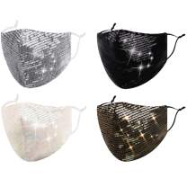FENELY 4 PCS Fashion Glitter Bling Face Mask Sequin Rhinestone for Adult