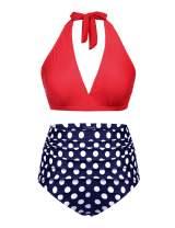 IN'VOLAND Women's Plus Size Halter Bikini Set Vintage Polka Dot 2 Piece Swimsuit High Waist Bathing Suits Swimwear Swimsuits