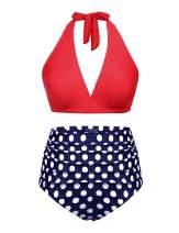 IN'VOLAND Women's Plus Size Halter Bikini Set Vintage Polka Dot 2 Piece Swimsuit High Waist Bathing Suits Swimwear Swimsuits Red Blue
