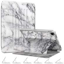 """CaseBot Magnetic Stand Case for iPad Pro 11"""" 2020 & 2018 [Support 2nd Gen Pencil Charging] - Multi-Angle Shockproof Rugged Soft TPU Cover with Pencil Holder, Auto Wake/Sleep, Marble White"""