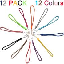 12 Pack Short Colorfull Hand Wrist Lightweight Lanyard Strap String for USB Flash Drives, Keys, Keychains, ID Name Tag Badge Holders and other Portable Items - Assorted Colors (Blue/Purple/red.)