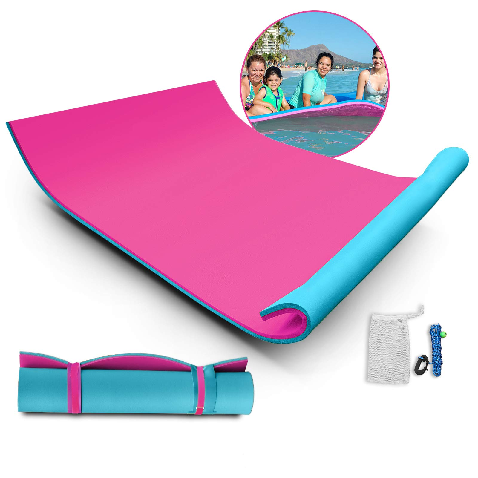 Popsport Floating Water Mat Series Floating Foam Pad Water Recreation and Relaxing in Pool/Beach/Lake Water Floating Mat with DIY Head Pillow for Adults and Kids (Pink&Blue, 18X6FT)