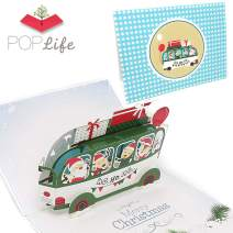 PopLife Santa's Bus Funny Pop Up Christmas Card, Handmade 3D Holiday Greeting, Merry Christmas Note, Small Stocking Present for Friends and Family, Naughty or Nice