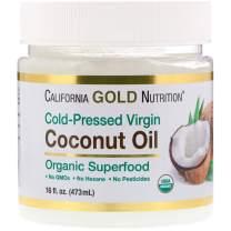 California Gold Nutrition Organic Virgin Coconut Oil Superfood Cold Pressed Unrefined 16 fl oz 473 ml, Egg-Free, Fish-Free, Gluten-Free, Hexane-Free, Organic, Milk-Free, Peanut Free, Soy-Free, CGN