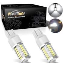 Partsam 1Pair 7443 W21W 33LED Backup Reverse Light Bulbs w/Projector 5730-SMD 7000K White Car LED Bulbs