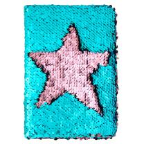 MHJY Magic Sequin Journal Reversible Sequin Notebook Mermaid Sequins Journal Color Changing Office Notebook School Diary for Kids Girls Festival Birthday Gifts(Lake Blue/Pink)