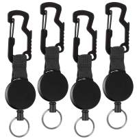 4 Pack Retractable Key Chain, Heavy Duty ID Badge Holder Reel with Belt Clip, Steel Wire Cord and Key Ring, Multitool Carabiner Key Holder