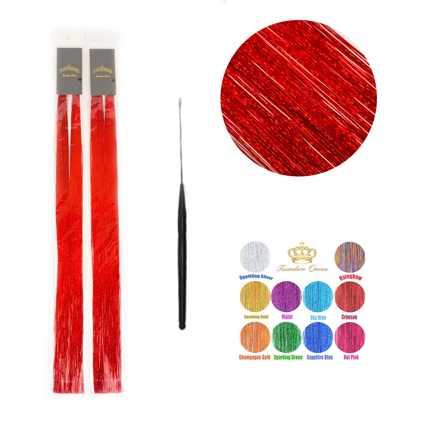 48'' Hair Tinsel 300 Strands Sparkling Color Shiny Hair Flairs Extensions Fairy Hair with Tools (Crimson)