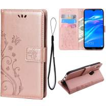 Teebo Wallet Case for Huawei Y6 2019/Y6 Pro(2019)/Y6 Prime (2019) Card Holder Embossed Butterfly Flower PU Leather Magnetic Flip Cover for Huawei Y6 2019/Y6 Pro(2019)/Y6 Prime (2019) (Rose Gold)