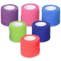 """Ever Ready First Aid Self Adherent Cohesive Bandages 2"""" x 5 Yards - 36 Count, Rainbow Colors"""