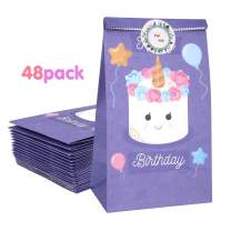 Zooawa [48 PACK] Cartoon Party Favor Bags - Happy Birthday Unicorn Craft Paper Gift Bags, Goodie Candy Treat Bags with For You Stickers for Birthday Party Baby Shower Tea Party Décor - Purple