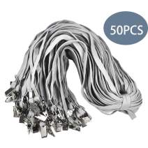 Lanldc 32-Inch Gray lanyards Neck Lanyards for Id Badges with Clip,50 Pack
