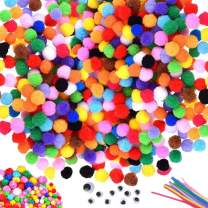 Etercycle 2000PCS 1cm Pom Poms Balls for Crafts, Including 100PCS Glitter Poms 10PCS Pipe Cleaners Chenille Stems 10 Wiggle Googly Eyes, Arts DIY Art Supplies for Kids, Assorted Colors