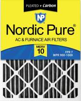 Nordic Pure 12x24x4 Plus AC Furnace Air Filters, 1 Pack, MERV 10 Pleated + Carbon