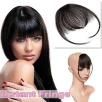 "Clip in Hair Bangs Human Hair Black Clip on Thin Hair Fringe Extensions Flat Wispy Air Fringe with Temples for Women One-piece 5"" Hairpiece #1B Natural Black"