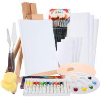 Complete Acrylic Paint Set by Glokers – 36 Piece Professional Painting Supplies Set, Includes Mini Easel, 6 Canvases, Paint Tray, Painting Knives, 10 Paintbrushes and More – Perfect Gift for Artists