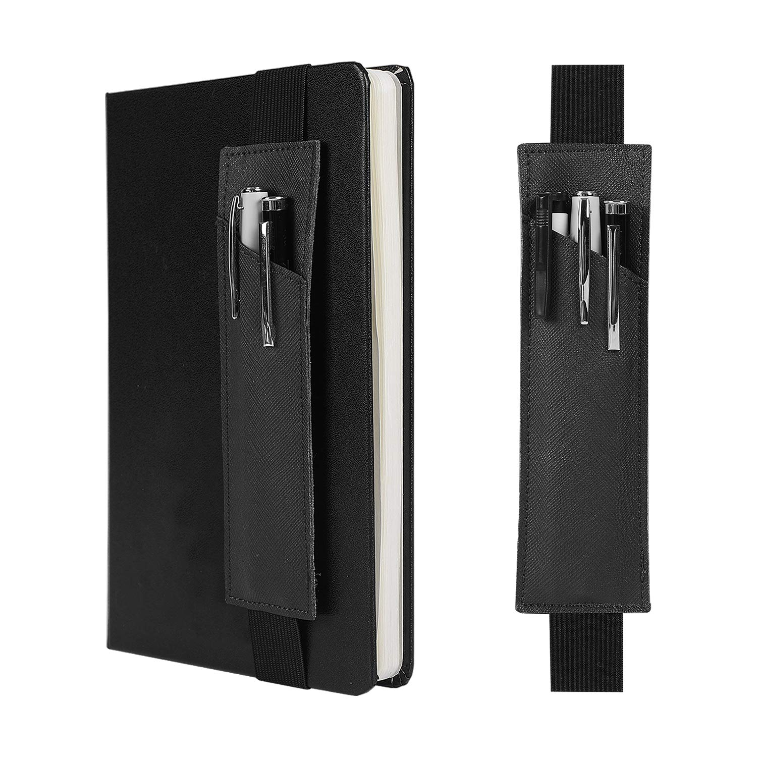"""2-Pack Leather Adjustable Elastic Band Pen Holder, Pencil Holder, Pen Sleeve Pouch, Pen Case for Hardcover Notebooks, Journals, Planners, Suitable for Heights from 8"""" to 11.5""""(Black)"""