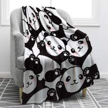 """Jekeno Cute Panda Throw Blanket Cartoon Print Black White Blanket Soft Ligtweight Durable Cozy for Bed Couch Travelling Kids Gift 50""""x60"""""""
