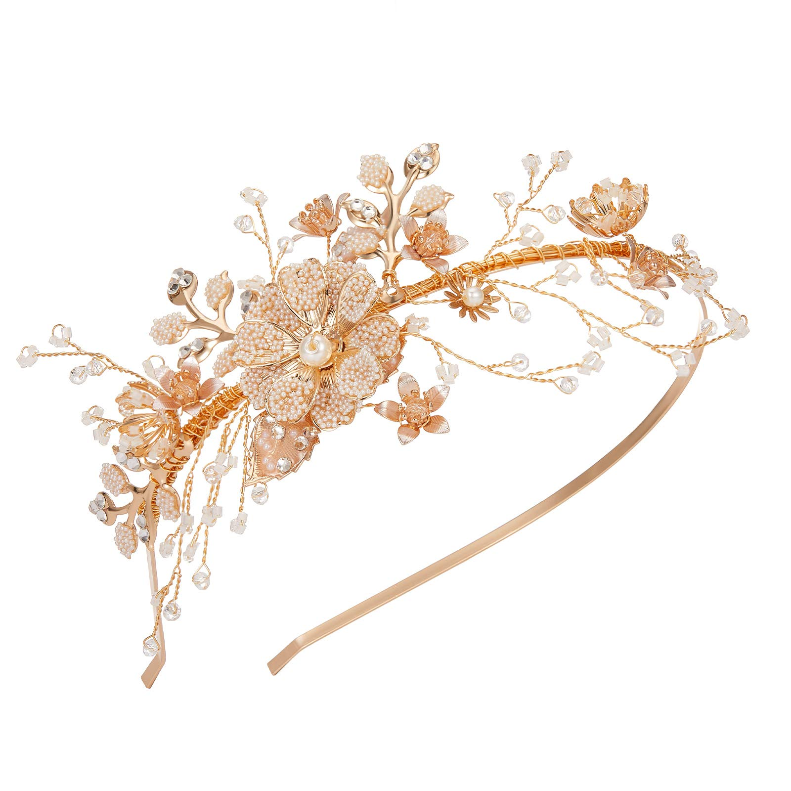 SWEETV Flower-Leaf Bridal Headband Gold Crystal Tiara for Women Pearl Wedding Headpieces for Bride Hair Accessories for Prom Birthday Party