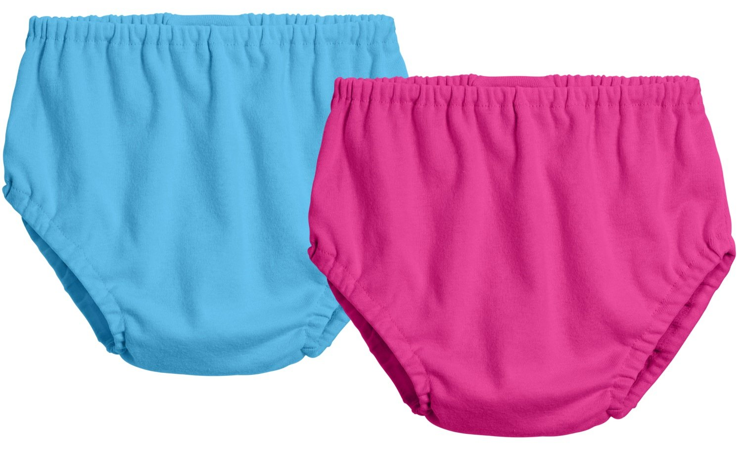 City Threads 2-Pack Baby Girls' and Baby Boys' Unisex Diaper Covers Bloomers Soft Cotton, Turquoise/Hot Pink, 12/18 m