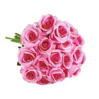 uxcell Artificial Silk Flower Fake Rose Bouquet Wedding Party Home Decor 18pcs Light Pink