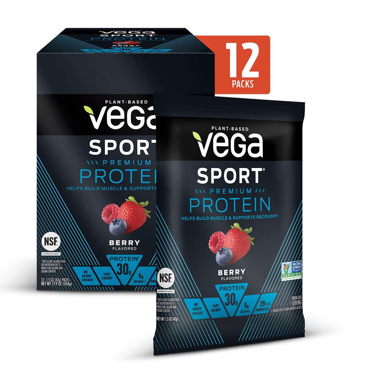 Vega Sport Protein Powder Berry, Plant-Based Vegan Protein Powder, BCAAs, Amino Acid, tart cherry, Non Dairy, Keto-Friendly, Gluten Free, Non GMO, (12 Count of 1.5 oz Packs) 17.9 oz