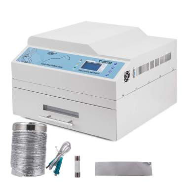 Mophorn Reflow Oven T962C 110V Reflow Soldering Machine 2500W 400 x 600 mm SMD SMT BGA Professional Automatic Infrared Heater Soldering Machine W//Smoke Exhaust Chimney Cooling Efficiency