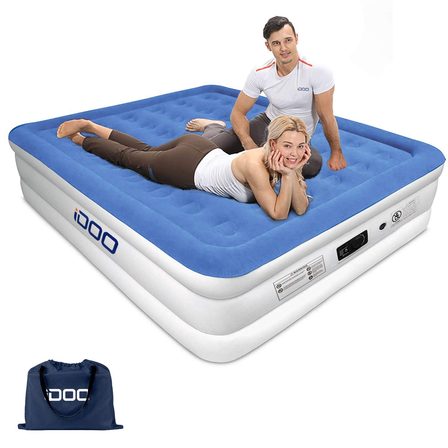 iDOO Air Mattress Queen Air Bed with Built-in Pump Inflatable Blow Up Air Mattress for Guest Family Camping Premium Soft Flocked Top with Storage Bag and Repair Patches Size 80 x 60 x 18 inch Blue