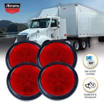 "Abrams Round 2.5"" Red 13 LED Side Marker Trailer Lights [Waterproof] Clearance Light [2 in 1 Reflector] [Polycarbonate Reflector] For Trucks & Trailers [SAE/DOT Certified] [IP67 Submersible] 4 Pack"