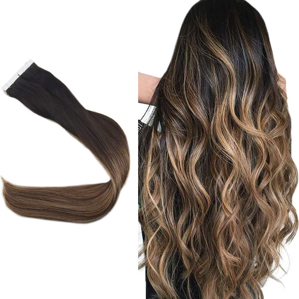 Easyouth Remy Tape in Hair Extensions Skin Weft Hair Extensions 12inch Color 1B Off Black Fading to 6 Middle Brown Highlight with 27 Honey Brown 20pcs 30gram Seamless Tape Hair Extensions Glue in