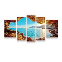 Startonight Canvas Wall Art Window Sunset - Water Framed Set of 5 Large 36 x 71 Inches