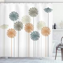 """Ambesonne Dandelion Shower Curtain, Abstract Wildflower Silhouettes Botanical Inspirations Meadow in Summer Season, Cloth Fabric Bathroom Decor Set with Hooks, 70"""" Long, White Mustard"""
